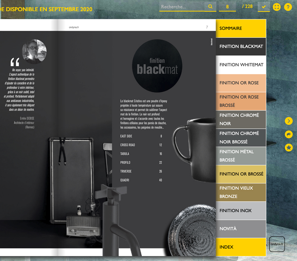 catalogue, finition, ondyna, viewer, lecteur, pdf,